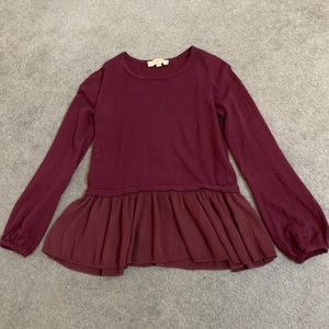 Maroon sweater with sleeve detail and peplum pleat